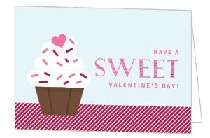 Sweet Sprinkle Cupcake Valentine's Day Card