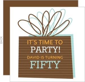 Brown Present Birthday Party Invite - 2834