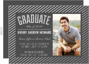 Modern Silver Foil Stripe Frame Graduation Photo Invitation
