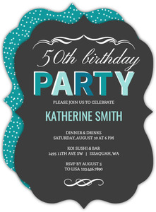 Turquoise Celebration 50th Birthday Invitation