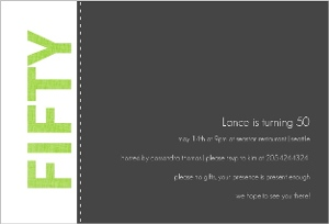 Green and Gray Simple 50th Birthday Party Invitation