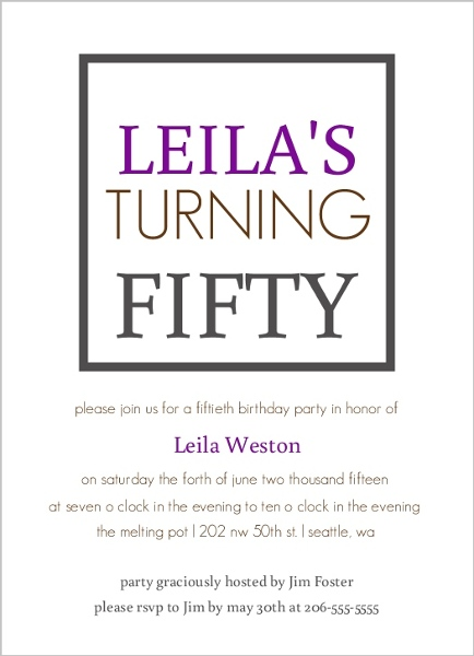 Purple Box 50th Birthday Party Invitation