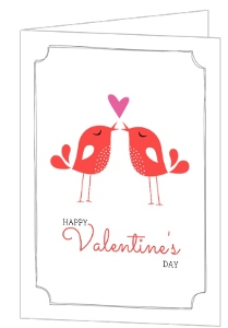 Red Kissing Birds Happy Valentines Day Card