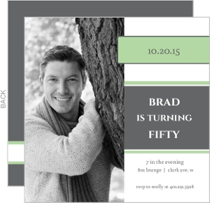 Square Green Photo 50Th Birthday Party Invitation