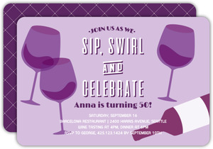Vintage Wine Glasses 50th Birthday Invitation