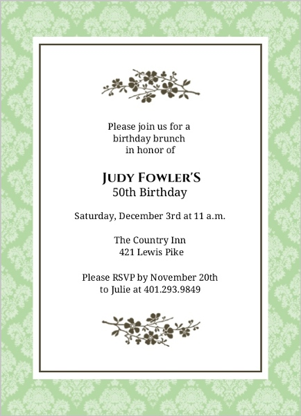 50th birthday invitations, Birthday invitations
