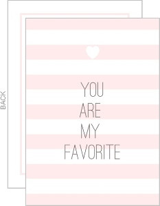 Favorite Soft Pink Stripes Valentines Note Card
