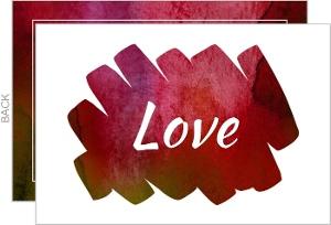 Watercolor Brush Stroke Love Note Card