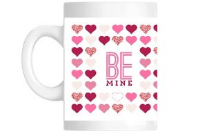 Pink Heart Pattern Be Mine Valentines Coffee Mug