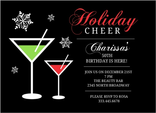 Holiday Cheer Martini 50th Birthday Card