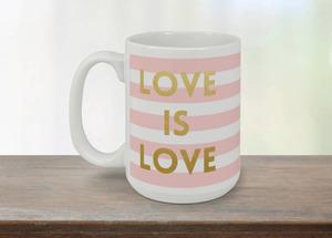 Pink Stripes Love Mug