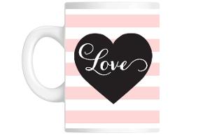 Pink Stripes Love Coffee Mug