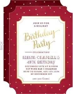 Festive Gold Dots Holiday Birthday Invitation