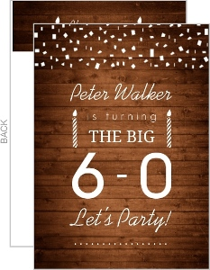 Woodgrain And White Confetti 60Th Birthday Invitation
