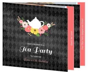 Chalkboard Floral Kettle Tea Party 60Th Birthday Invitation