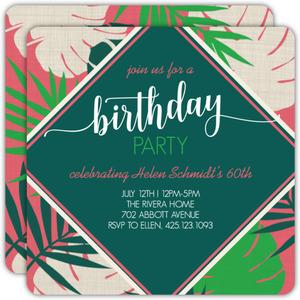Bright Tropical Leaves 60th Birthday Invitation