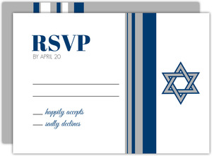 Blue and Tan Star of David Pattern Response Card