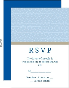 Blue and Tan Star of David Pattern Response Card