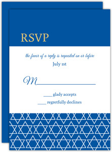 Blue and Gold Stripe Bar Mitzvah Response Card