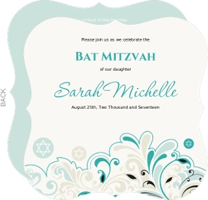 Turquoise and Black Floral Bat Mitzvah Invitation