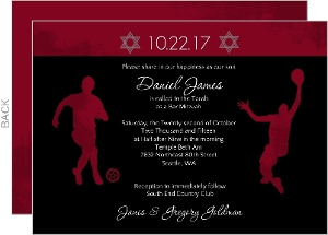 Burgundy and Grunge Sports Bar Mitzvah Invite