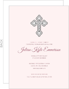Cross With Pink Communion Invitation