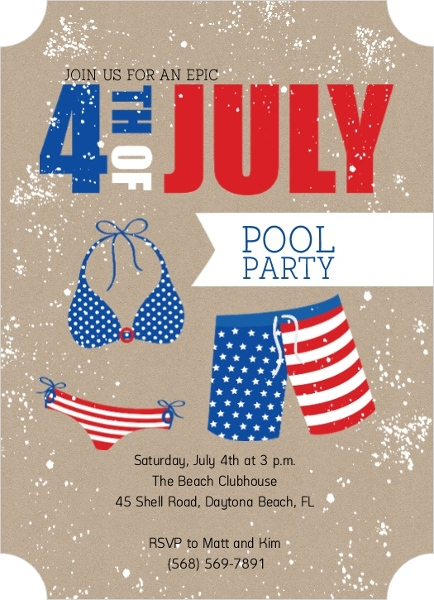 4th Of July Summer Pool Party Invitation