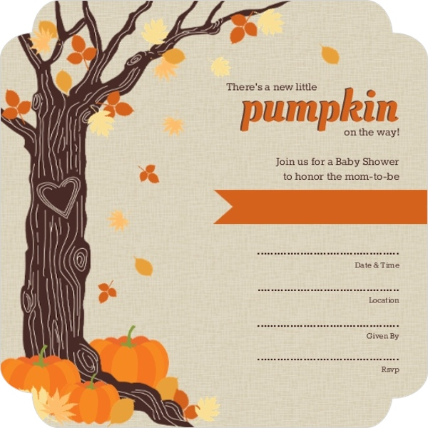 Fill In The Blank Baby Shower Invitations Part - 26: Rustic Tree Leaves And Pumpkin Fill In The Blank Halloween Baby Shower  Invitation