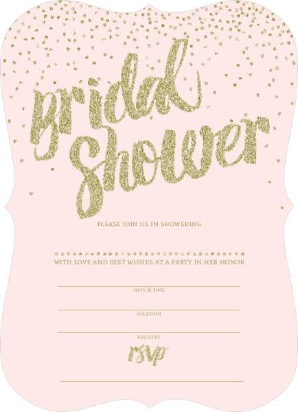 Pink and Gold Glitter Bridal Shower Invitation – Blank Wedding Shower Invitations