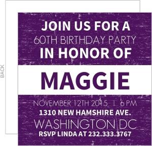 Purple News Flash 60Th Birthday Invitation