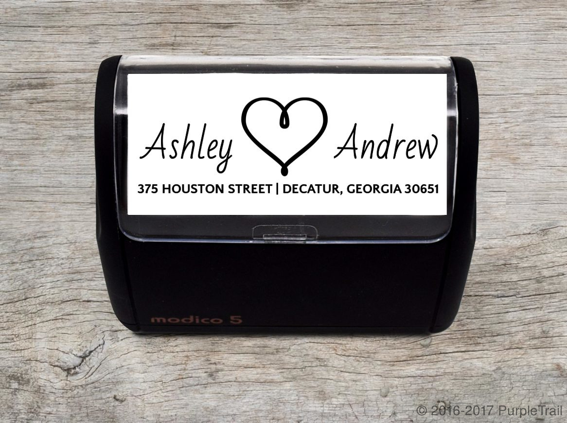 Floating Heart Address Stamp