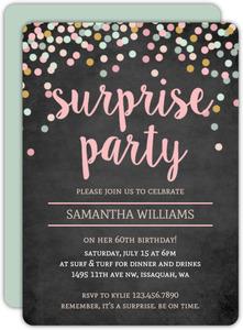 Colorful Confetti Chalkboard Surprise 60th Birthday Invitation