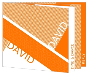 Orange Modern Booklet Bar Mitzvah Invitation