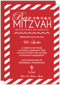 Nautical Red and White Bar Mitzvah Invitation