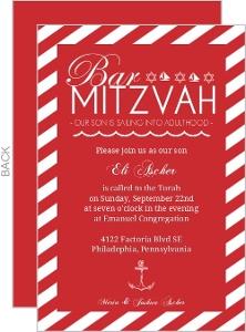 Nautical Red and White Bar Mitzvah Invitation