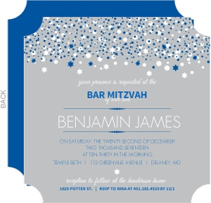 Gray and Blue Bubbles Bar Mitzvah Invitation