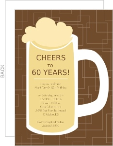 Brown Beers Cheers 60Th Birthday Invite