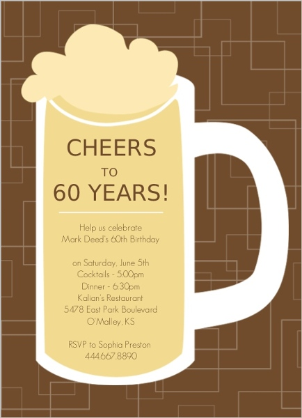 60th birthday invitations, Birthday invitations