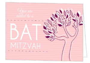 Pink and Purple Tree Bat Mitzvah Invitation