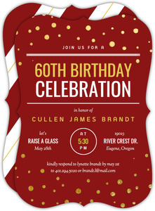 Modern Gold Confetti 60th Birthday Invitation