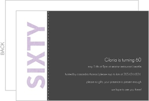 Purple And Gray Linen 60Th Party Invitation