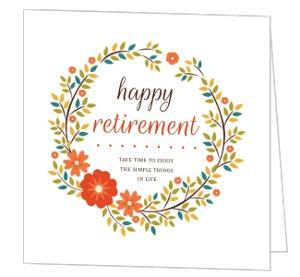 Orange Floral Wreath Happy Retirement Card