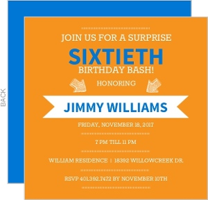 Blue and Orange Banner60th Birthday Invitation