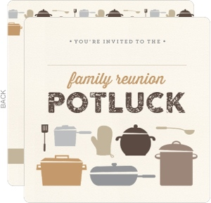 Neutral Colored Potluck Fill in the Blank Family Reunion Invitation