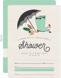Rustic Rain Boots and Foliage Fill in the Blank Bridal Shower Invitation