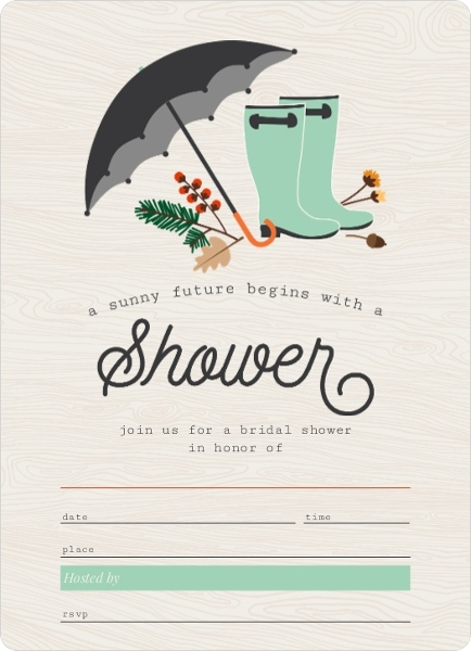 Rustic rain boots and foliage fill in the blank bridal for Bridal shower fill in invitations