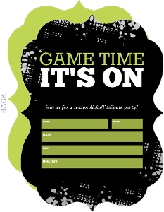 Black Tailgate Fill in the Blank Football Party Invitation