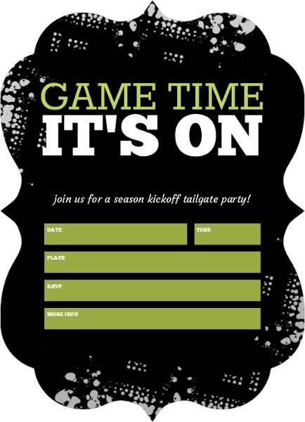 Black Tailgate Fill in the Blank Football Party Invitation – Football Party Invites