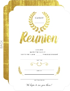 Beautiful Faux Gold Foil Fill in the Blank Class Reunion Invitation