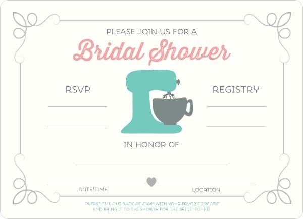Retro Kitchen Recipe Fill In The Blank Bridal Shower Invitation – Blank Wedding Shower Invitations